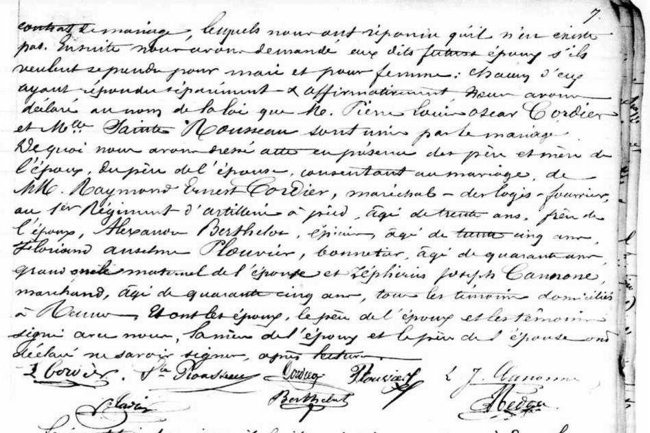 Marriage Record For Pierre Louis Oscar Cordier
