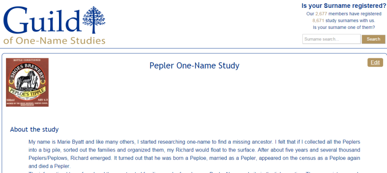 One Name Study Profile Page