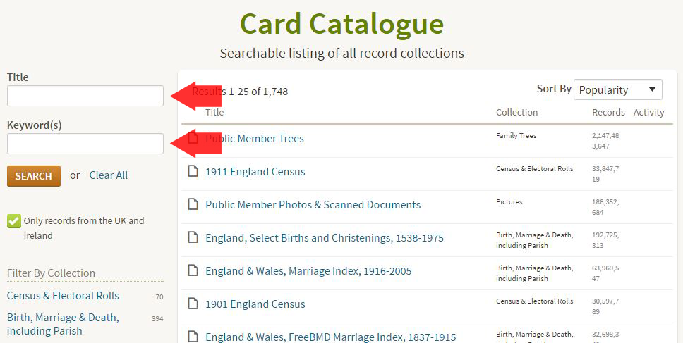 Ancestry Card Catalogue