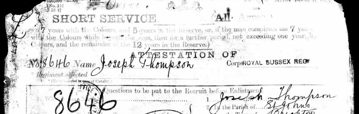 Joseph Thompson Service Records